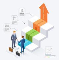 diseño conceptual de asociación empresarial. Apretón de manos de empresarios juntos frente a las escaleras con fondo de plantilla gráfica de diagrama de infografías de flecha. vector