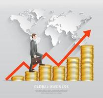Global business concept. Businessman climbing up on gold cions with red arrow and world map. vector
