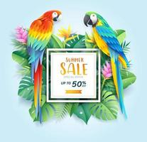 Summer sale card with scarlet macaws on tropical leaf flowers paper cut background. Vector illustration