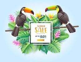 Summer sale card with Scarlet and blue macaw on tropical leaf paper cut background. Vector illustration