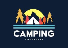 Logotipo retro de camping y aventura al aire libre. vector