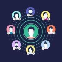 gráfico de redes sociales de audio. grupos de ponentes, moderadores y oyentes. vector