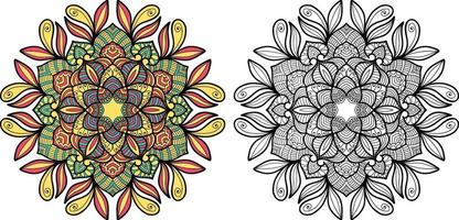 Doodle Mandala colouring book page for adults and children. vector