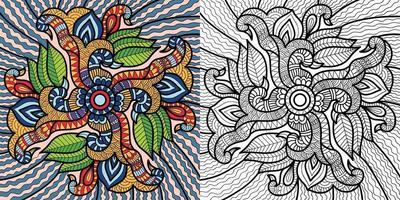 Doodle página de libro para colorear decorativo para adultos y niños. vector