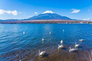 Mt. Fuji and Lake Yamanakako in Japan photo