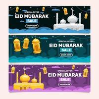 colección de banners de rebajas de eid mubarak vector