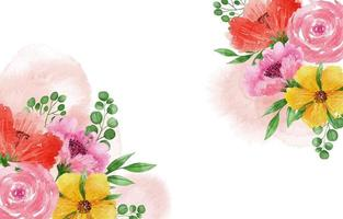 Beautiful Watercolor Spring Floral Background vector