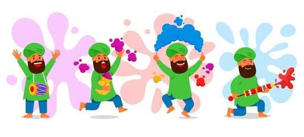 Indian Celebrating Holi Festival Collection vector