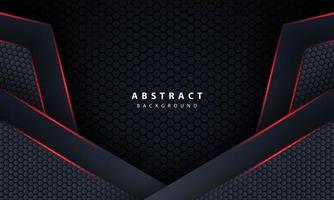 3d hexágono oscuro con luz de línea roja en la ilustración de vector de fondo futurista de lujo gris moderno.