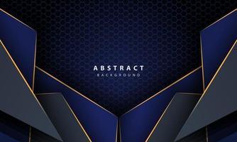 Fondo de hexágono abstracto azul oscuro con formas de degradado de línea dorada. plantilla de diseño para banner, carteles, portada, etc. vector