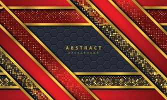 Dark abstract background with black overlap layers. Texture with golden line effect element decoration. Red Background vector. vector