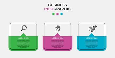 Minimal Business Infographics template. Timeline with 3 steps, options and marketing icons .Vector linear infographic with two circle conected elements. Can be use for presentation. vector