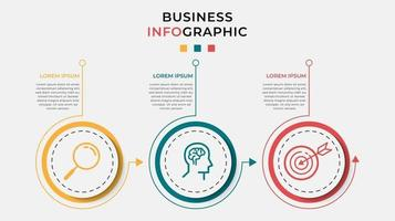 Minimal Business Infographics template. Timeline with 3 steps, options and marketing icons .Vector linear infographic with two circle connected elements. Can be use for presentation. vector