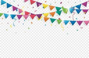 banderas del empavesado de colores con confeti y cintas para cumpleaños, celebración, carnaval, aniversario y fiesta sobre fondo blanco. ilustración vectorial vector