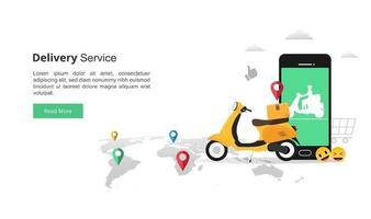 Online fast delivery services concept with smartphone. courier illustration with yellow scooter and colorful navigation on map symbol. flat vector style