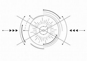 Modern technology background. Target screen elements. Outline HUD user interface for business. Vector illustration