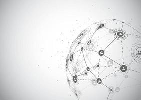 conexión de red global. concepto de composición de puntos y líneas del mapa mundial de negocios globales. ilustración vectorial vector