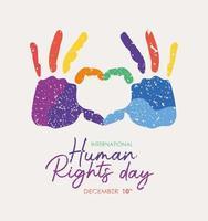 pancarta internacional de derechos humanos con huellas de manos vector