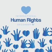 banner internacional de derechos humanos con manos azules vector