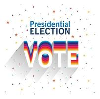 Presidential election and vote lettering vector design