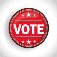 Botón de voto de las elecciones presidenciales de EE. UU. con diseño de vectores de estrellas