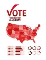 Presidential election vote with map infographic vector