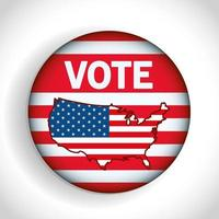 Presidential election usa vote button with map vector design