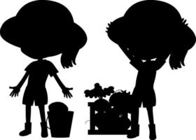 Cartoon character of kids silhouette on white background vector