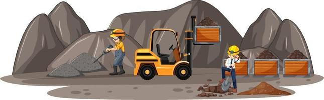 Escena de minería de carbón con camiones de construcción y personas. vector