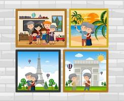 Family photo frames hanging on the wall vector
