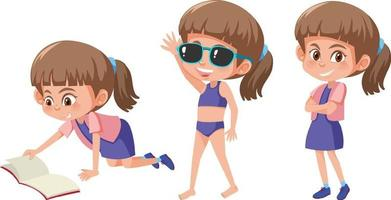 Set of a girl with different positions vector