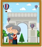 A picture of old couple with Arc de Triomphe vector
