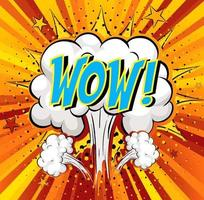 Word Wow on comic cloud explosion background vector