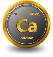 elemento químico calcio. símbolo químico con número atómico y masa atómica. vector