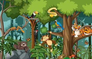 personaje de dibujos animados de animales salvajes en la escena del bosque vector