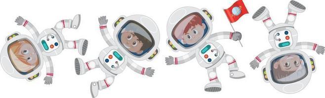 Set of different little astronauts cartoon character vector