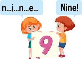 Cartoon character of two kids spelling the number nine vector