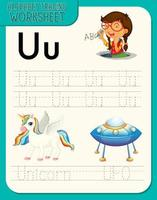 Alphabet tracing worksheet with letter U and u vector