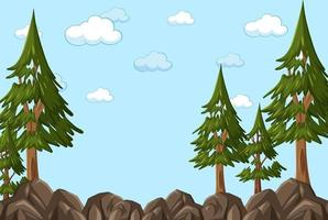 Empty sky background with many pine trees vector
