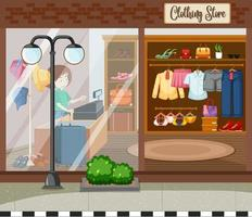 Fashion clothes store background vector