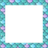 Blank colourful fish scales frame template vector