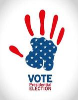 Presidential election vote with hand print vector