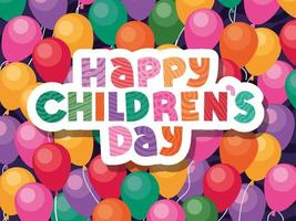 Happy childrens day on balloons background vector design