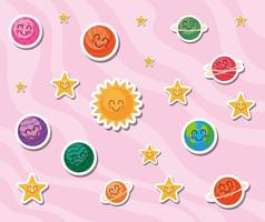 Space cartoons on pink background vector design