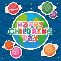 Happy childrens day with world and planets vector design