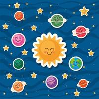 Sun and space cartoons on blue background vector design