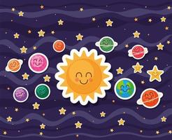 Space cartoons on blue background vector design