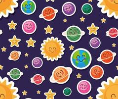 Space cartoons background vector design
