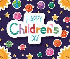 feliz día del niño con diseño de vector de fondo de dibujos animados espaciales