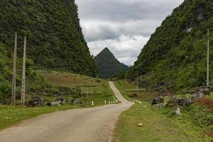 Road into the hills in Ha Quang, Cao Bang, Vietnam